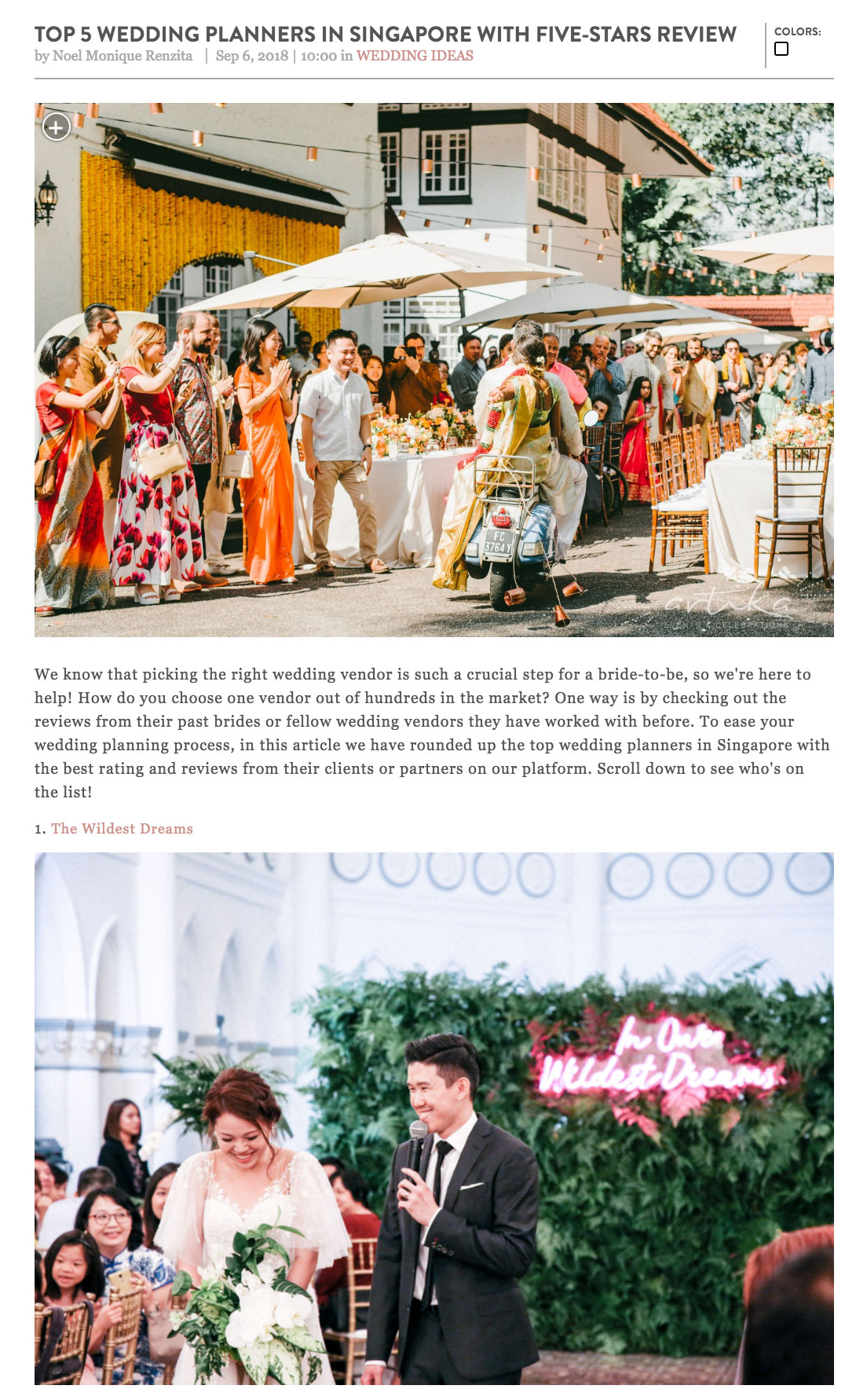 top five wedding planners in Singapore