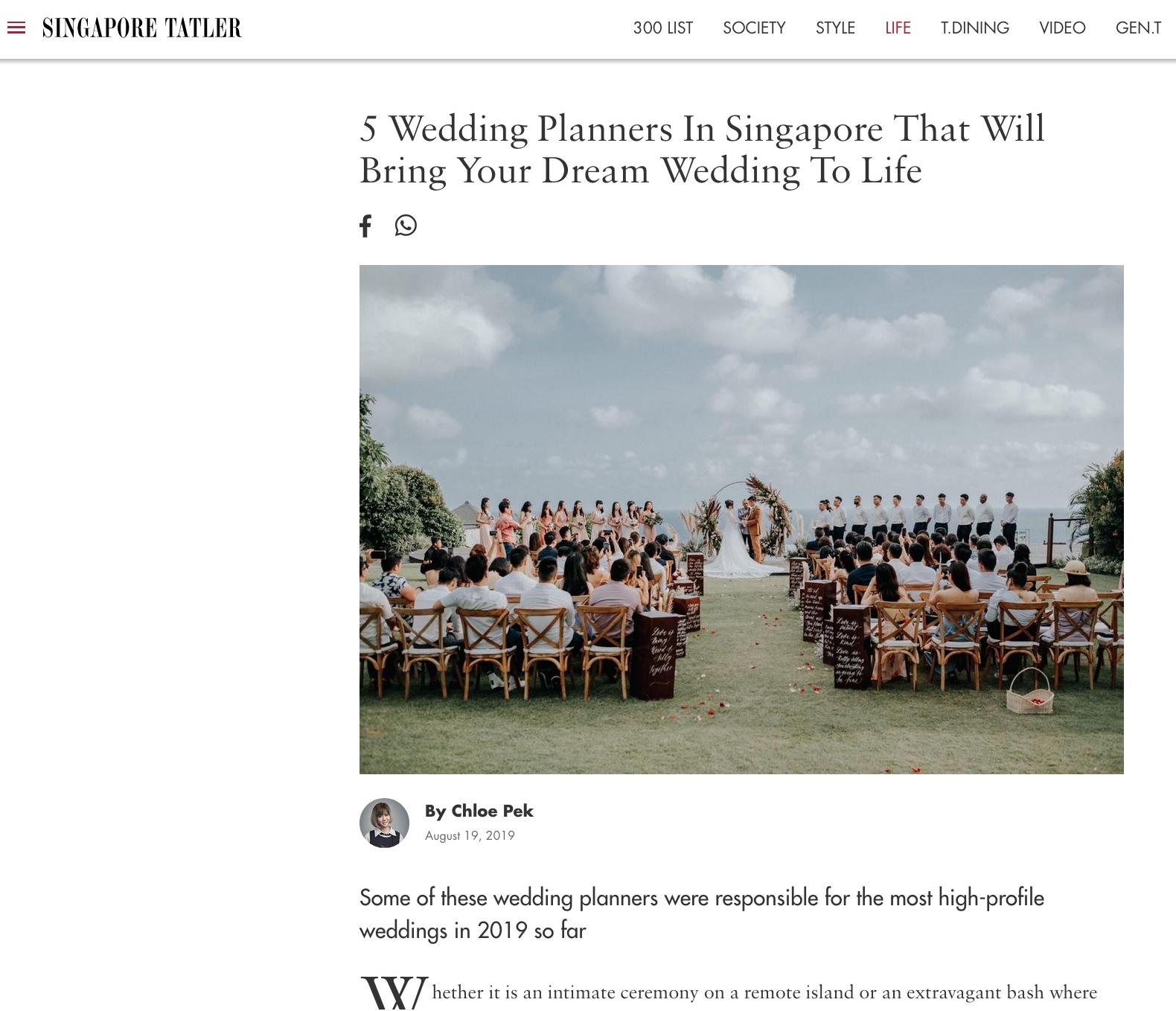 Tatler wedding best wedding planner in singapore